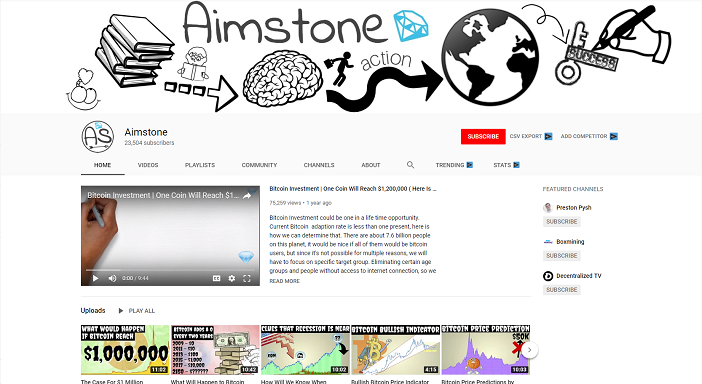 aimstone youtube channel, crypto youtubers