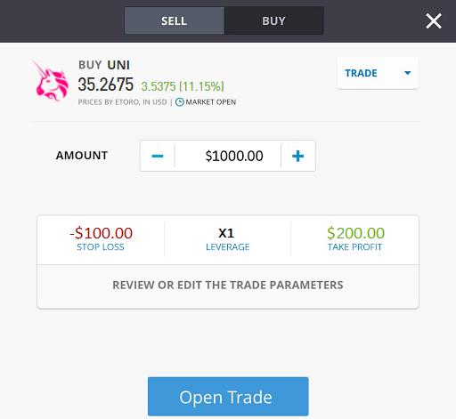 Uniswap trading order