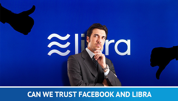 can we trust facebook and libra, man thinking  and libra logo