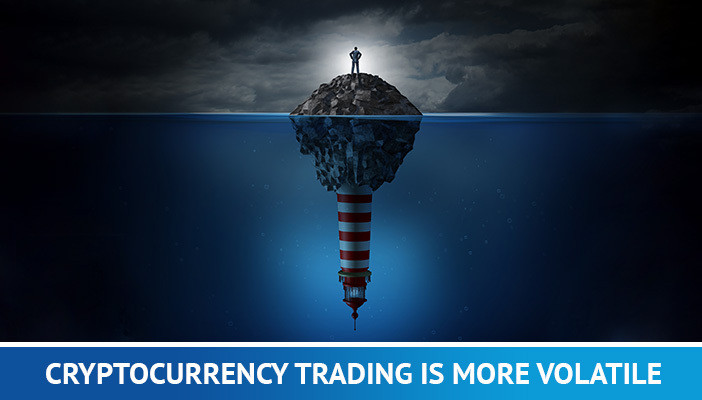 cryptocurrency trading is more volatile, man on an island