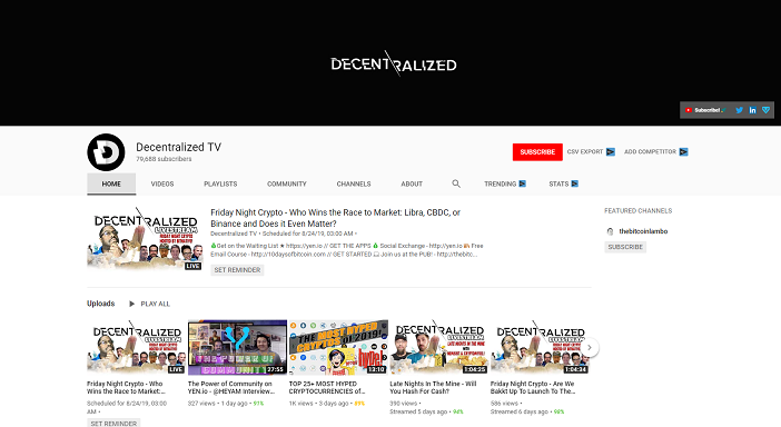decetralized tv youtube channel, crypto youtubers