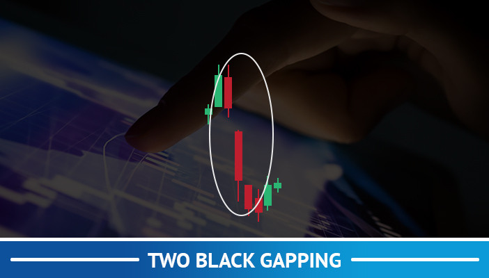 two black gapping, candlestick pattern