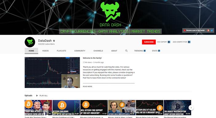 datadash youtube channel, crypto youtubers