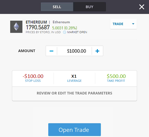trading ethereum, placing trading order