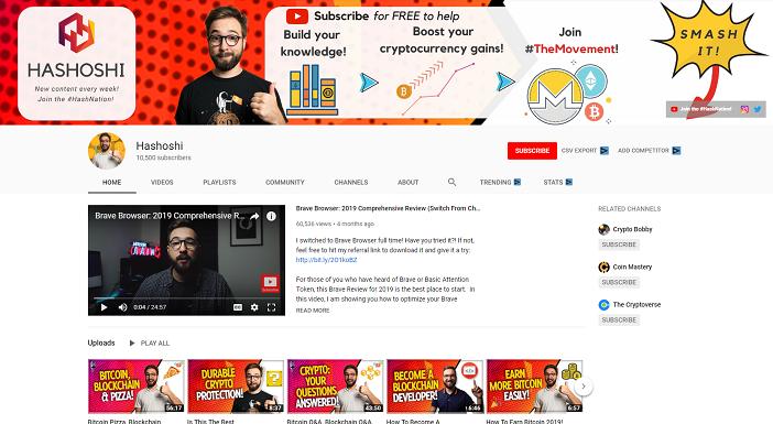 hashashi youtube channel, crypto youtubers