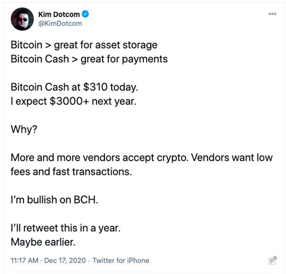bch payments Kim Dotcom twitter