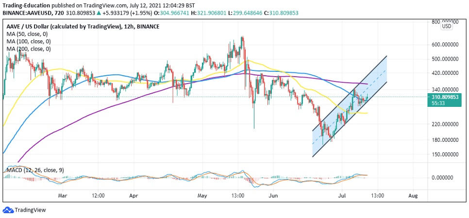 AAVE/USD 12-hour chart 071221