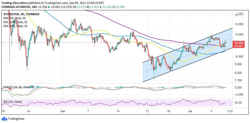 ATOM/USD 4-hour chart 070921