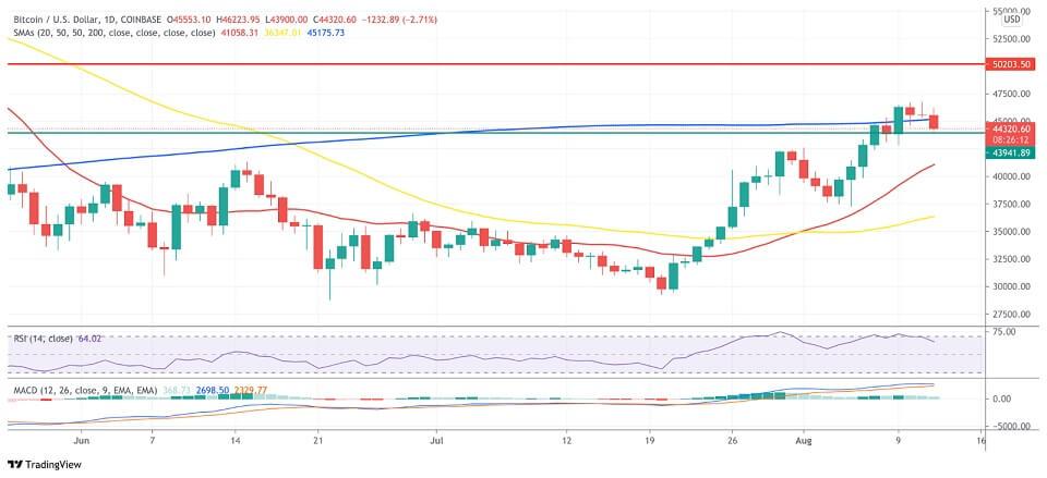BTC/USD daily chart 081321