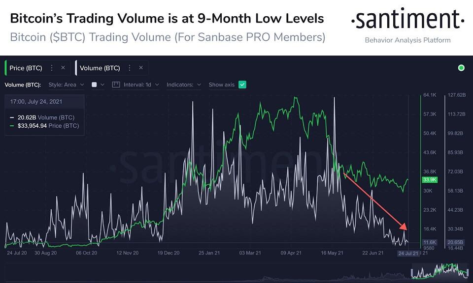 BTC/USD santiment chart 072621