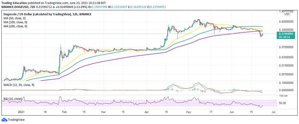 DOGE/USD 4-hour chart 062321