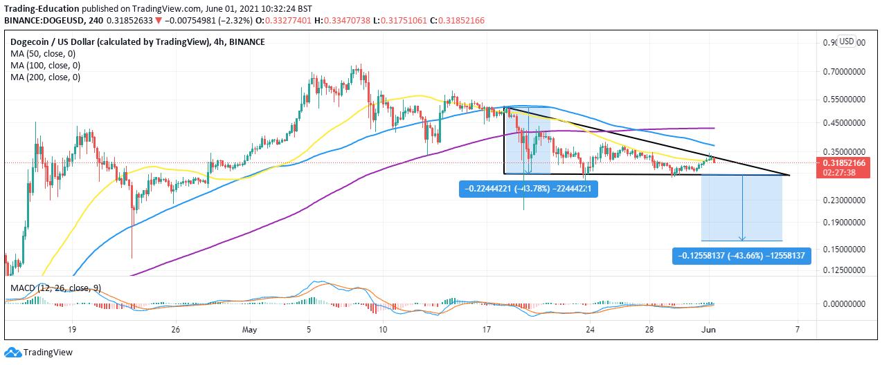 DOGE/USD 4-hour chart 053121