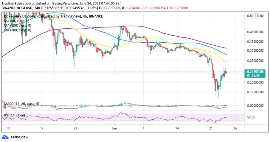 DOGE/USD 4-hour chart 062421
