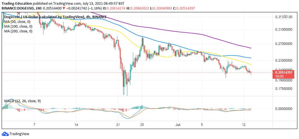 DOGE/USD 4-hour chart 071321