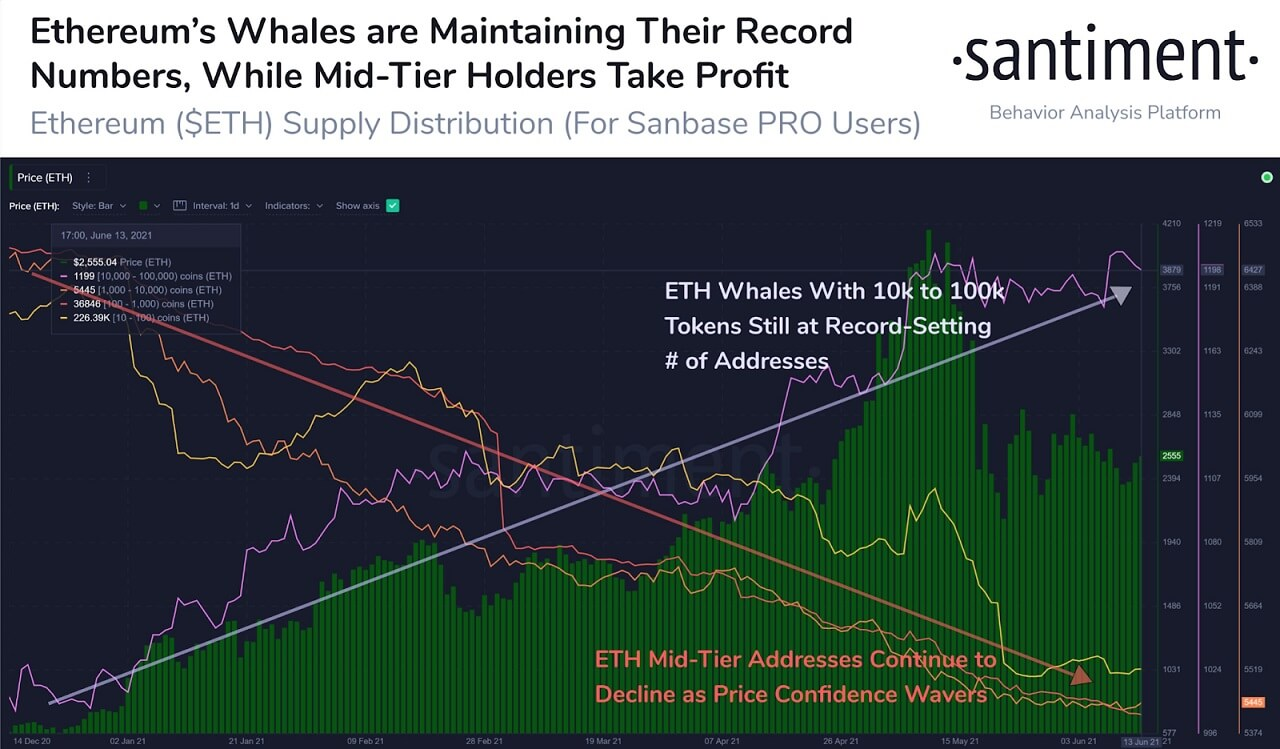 ETH/USD santiment chart 061621