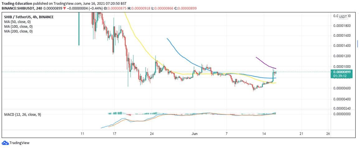 SHIB/USD 4-hour chart 1 061621