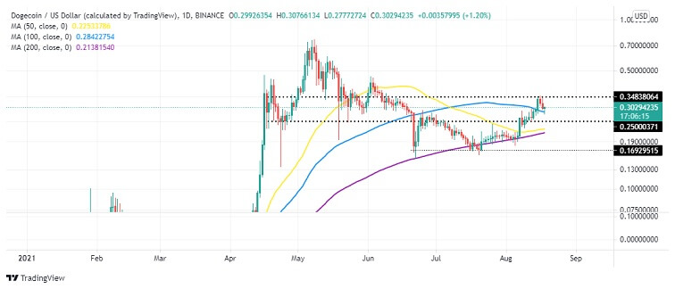 DOGE/USD Daily Chart 081821