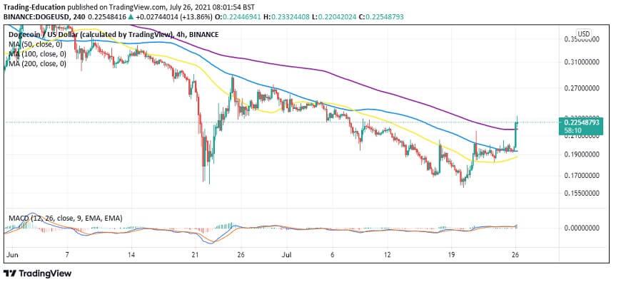 DOGE/USD four-hour chart