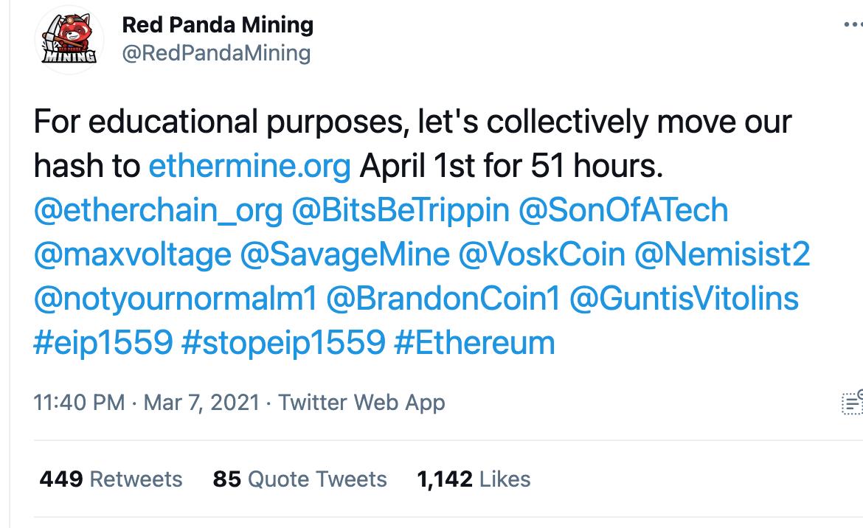 Red Panda Mining Tweet