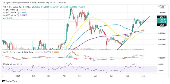 XRP/USD daily chart 090321