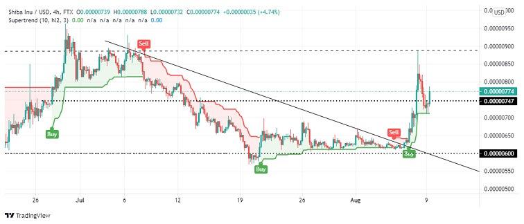 SHIB/USD 4 hour chart 080921