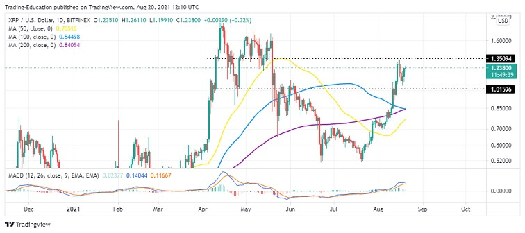 XRP/USD Daily Chart 082021