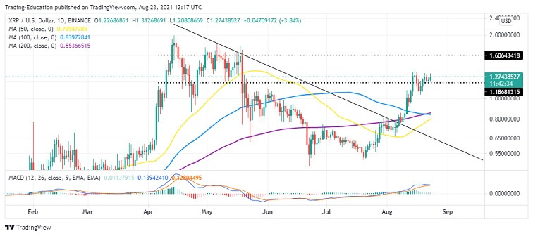 XRP/USD Daily Chart 082321