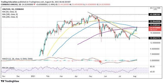 UNI/USD daily chart 080621
