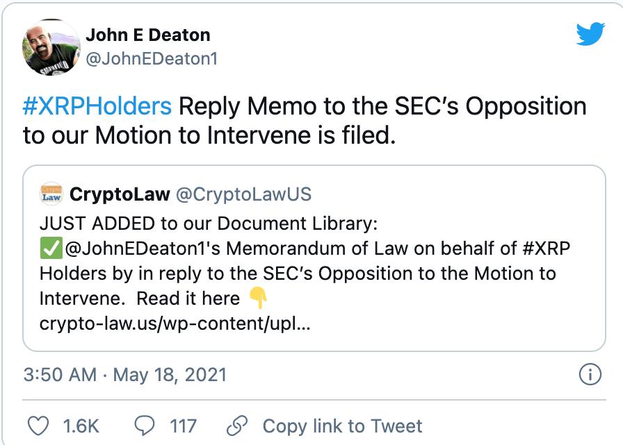 John Deaton XRP Tweet