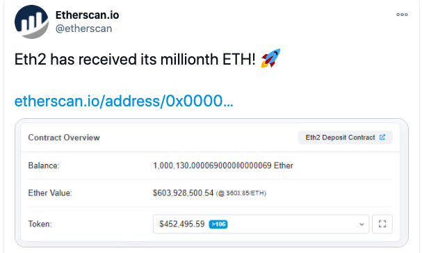 ethereum 1 million eth announcement